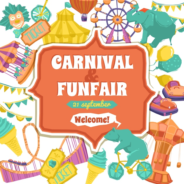 Poster fun fair e carnival Vettore gratuito