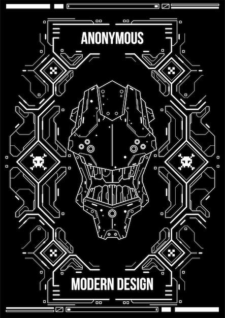 Poster futuristico cyberpunk. modello di poster futuristico retrò. modello di manifesto astratto di tecnologia. Vettore Premium