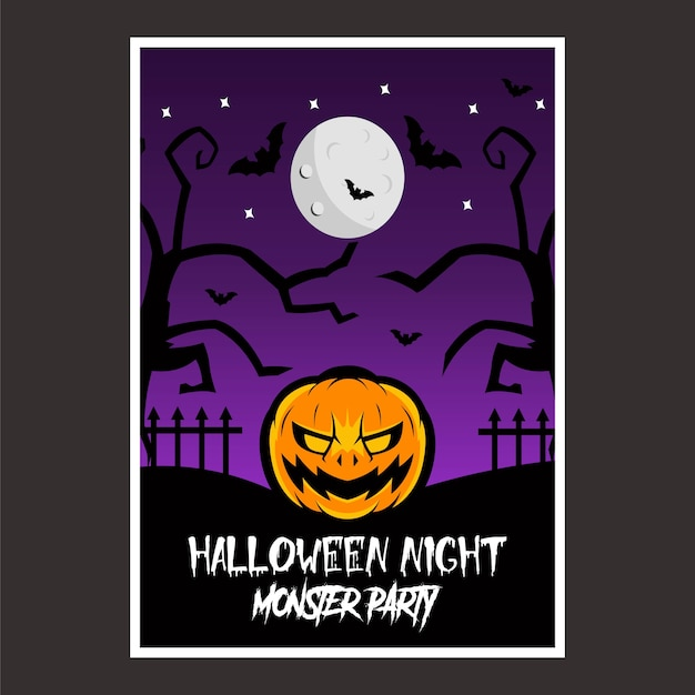 Poster halloween night Vettore Premium