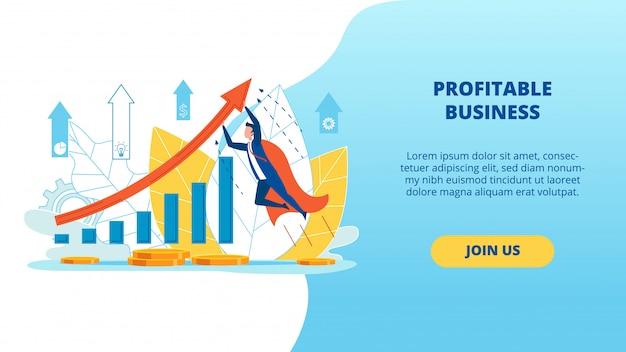 Poster informativo iscrizione commerciale redditizia Vettore Premium