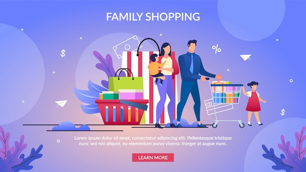 Poster informativo scritto shopping per famiglie. Vettore Premium