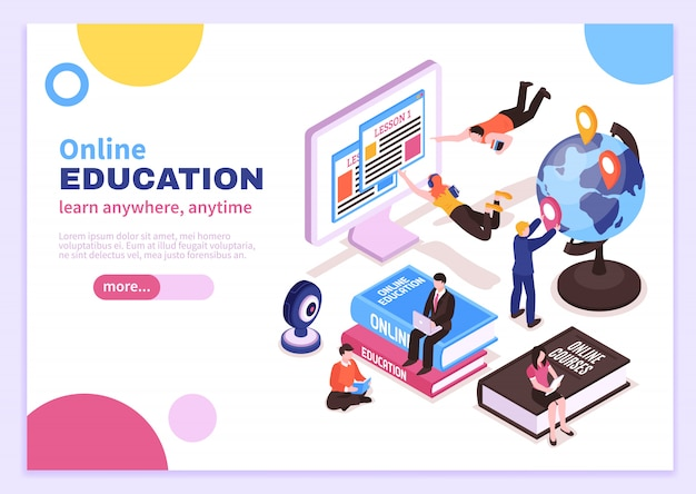 Poster isometrico di formazione online con tutorial che pubblicizzano corsi a distanza e slogan imparano ovunque in qualsiasi momento Vettore gratuito