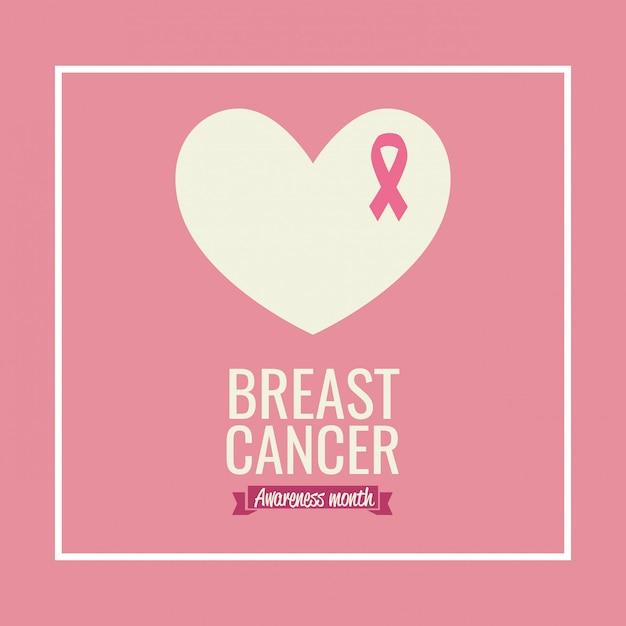 Poster mese consapevolezza del cancro al seno con cuore e nastro Vettore gratuito