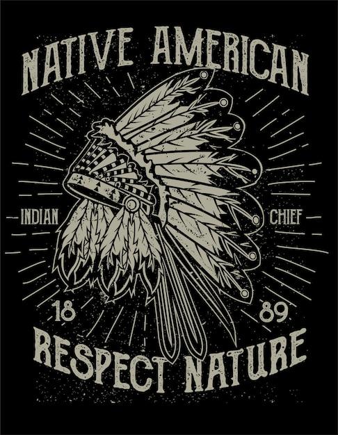 Poster nativo americano Vettore Premium