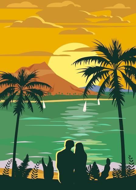Poster o adesivo di viaggio stile vintage retrò Vettore Premium