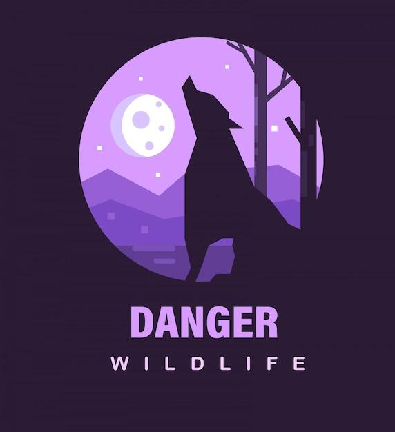Poster o icona della fauna selvatica. pericolosità della fauna selvatica con lupo mannaro e la luna. Vettore Premium