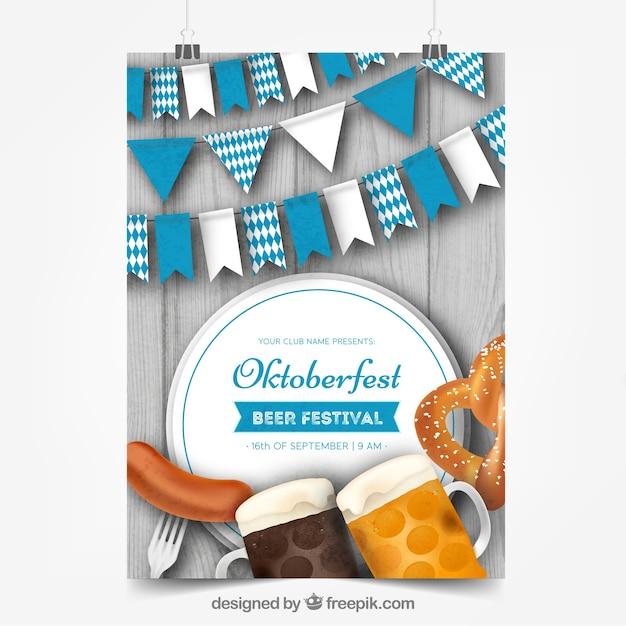 Poster oktoberfest con cibo, birra e bandiere Vettore gratuito