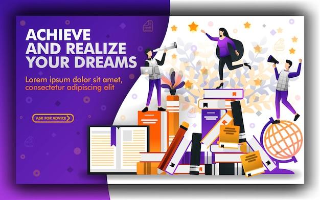 Poster per borse di studio educative e realizzazione Vettore Premium