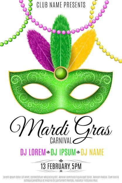Poster per il carnevale di mardi gras su uno sfondo bianco. maschera lussuosa con piume colorate. Vettore Premium