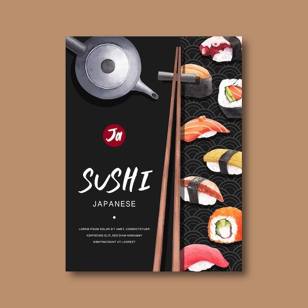 Poster per la pubblicità del ristorante sushi. Vettore gratuito