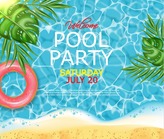 Poster per piscina estiva e salvagente Vettore Premium