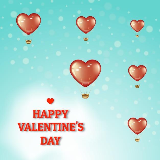 Poster per san valentino e giornata internazionale della donna. palloncini rossi volanti su uno sfondo verde intenso con bokeh. Vettore Premium