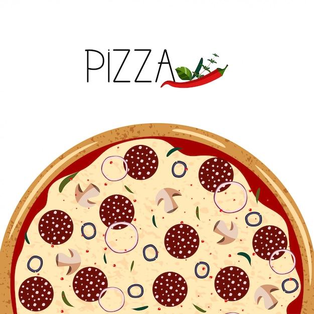Poster per scatola di pizza. Vettore Premium