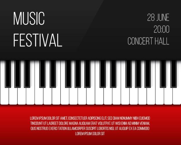 Poster per tasti di pianoforte Vettore Premium