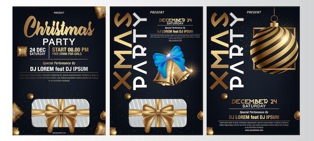 Poster per una festa di natale Vettore Premium