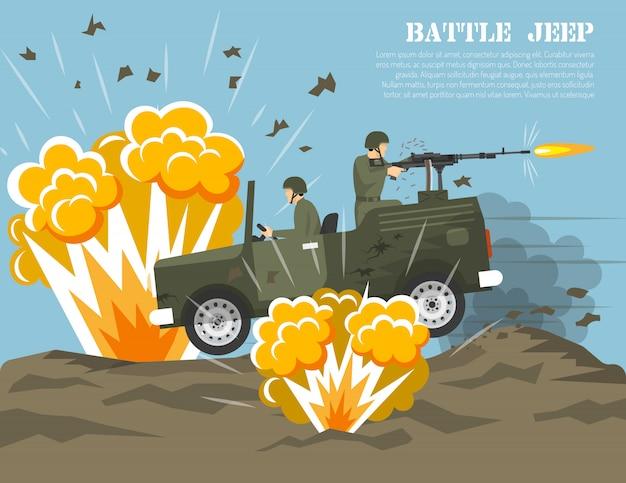 Poster piatto di ambiente di battaglia dell'esercito militare Vettore gratuito