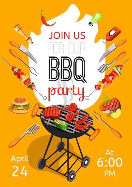Poster piatto di annuncio di barbecue party Vettore gratuito
