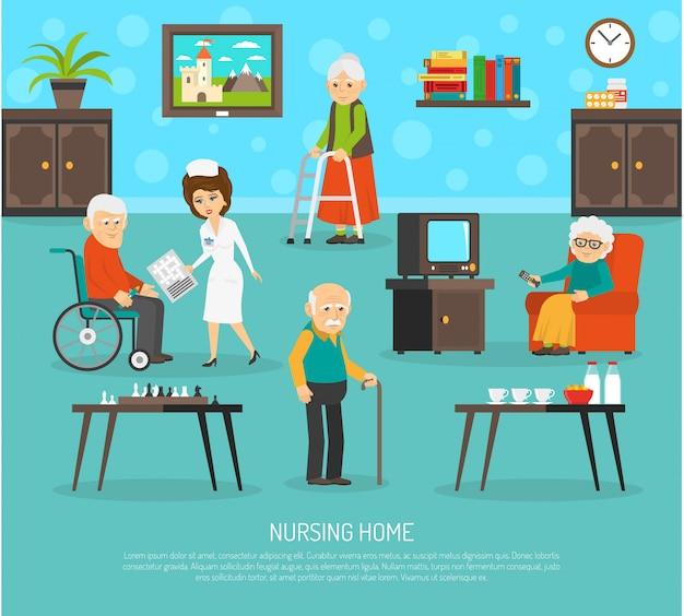 Poster piatto di casa di cura di persone anziane Vettore gratuito