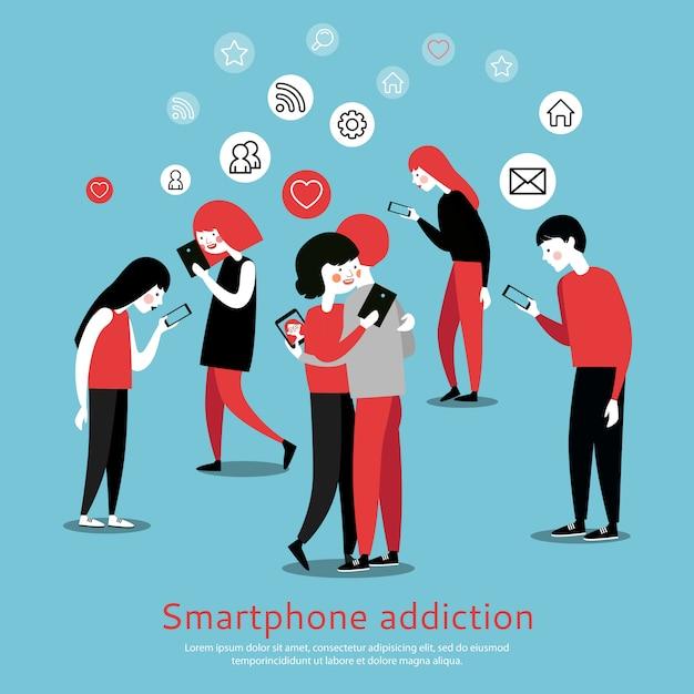 Poster piatto di consapevolezza di dipendenza da smartphone Vettore gratuito