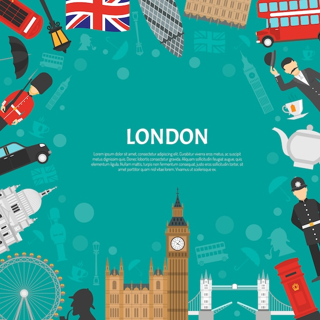 Poster piatto di london city frame background Vettore gratuito