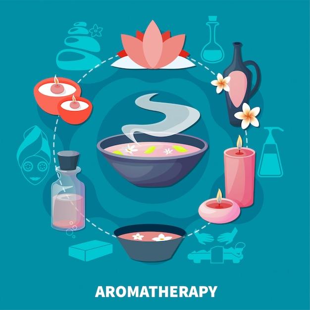 Poster piatto di profumi per aromaterapia spa Vettore gratuito