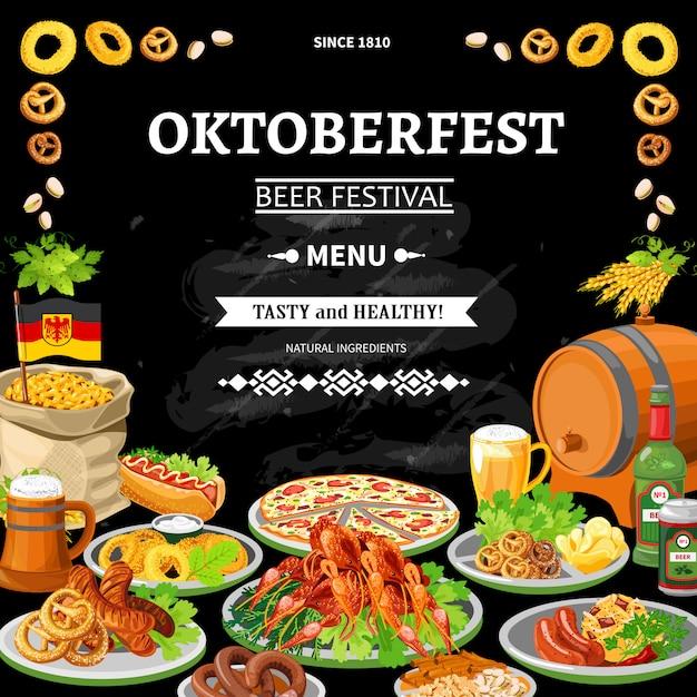 Poster piatto menu lavagna tedesca oktoberfest Vettore gratuito