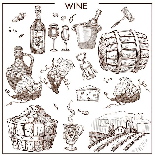 Poster promozionale del vino in colori seppia con uva e bottiglie Vettore Premium