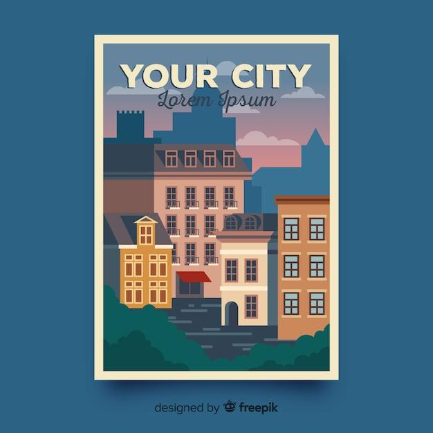 Poster promozionale retrò di un modello di città Vettore gratuito