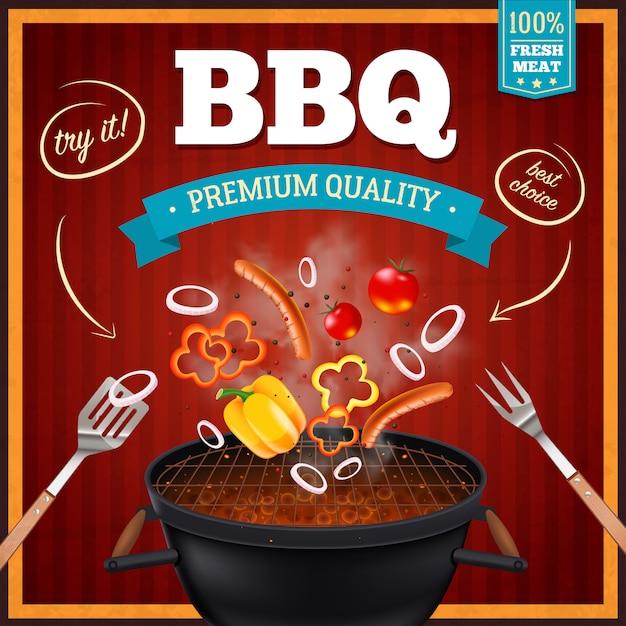 Poster realistico di barbecue Vettore gratuito