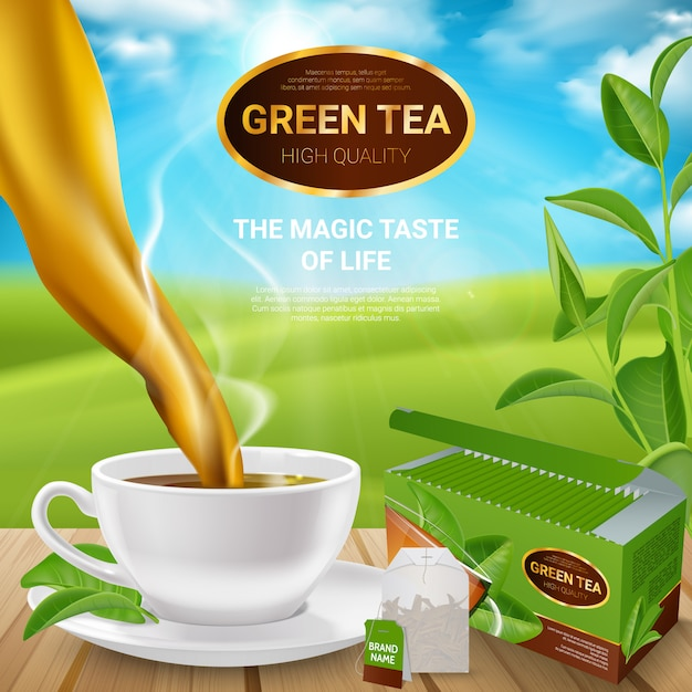 Poster realistico di foglie di tè Vettore gratuito