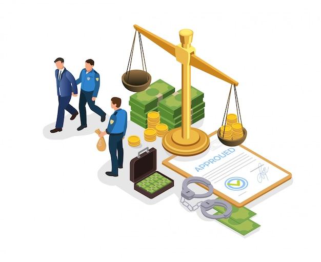 Poster responsabilità penale per corruzione piatta. Vettore Premium