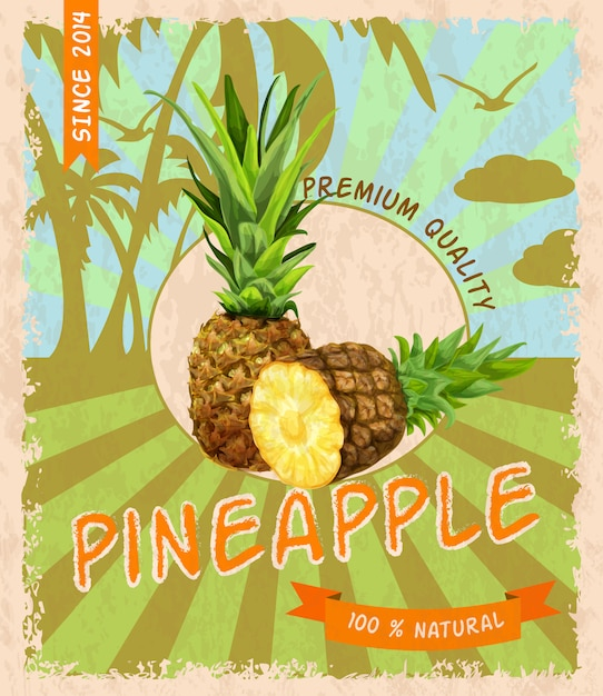 Poster retrò ananas Vettore gratuito