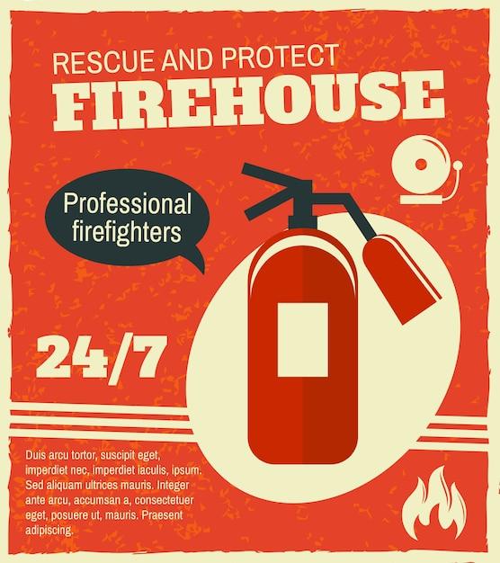 Poster retrò antincendio Vettore Premium