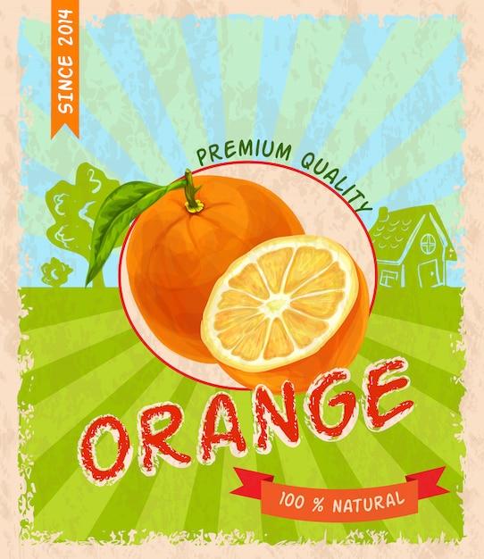 Poster retrò arancione Vettore Premium