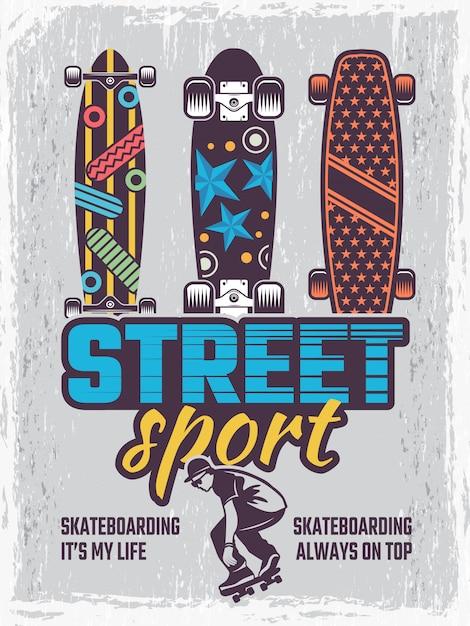 Poster retrò con illustrazioni di skateboard colorati Vettore Premium