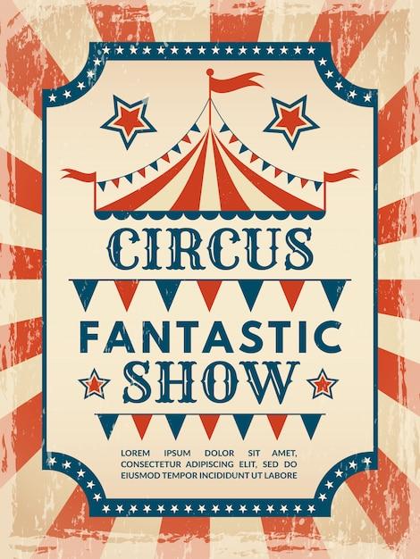 Poster retrò invito per spettacolo di magia circense Vettore Premium