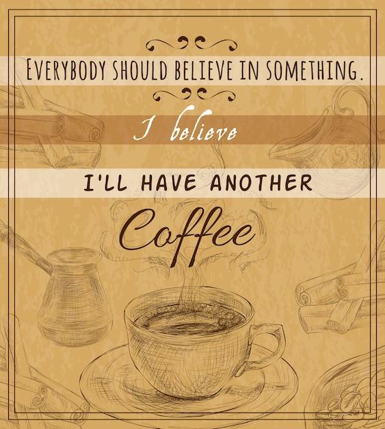 Poster retrò set di caffè Vettore gratuito