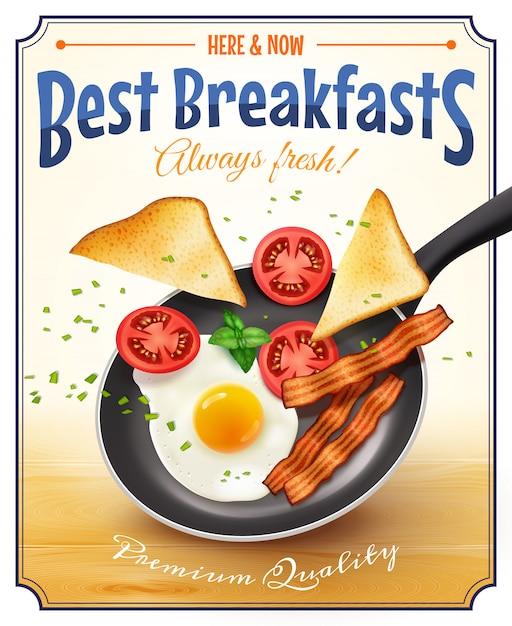 Poster ristorante pubblicità poster retrò Vettore gratuito