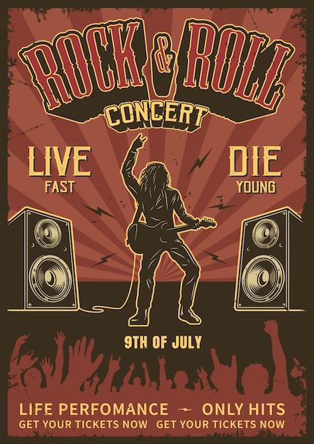 Poster rock and roll Vettore gratuito