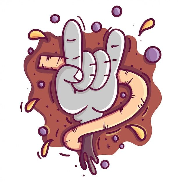 Poster rock'n'rolll con teschio, rosa, chitarra Vettore Premium
