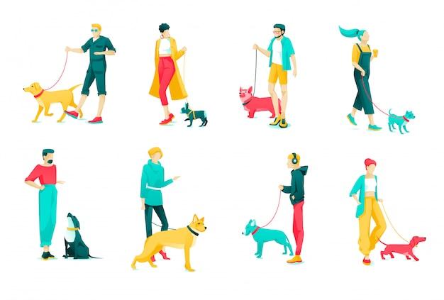 Poster set proprietari di cani personaggio, cartoon flat Vettore Premium