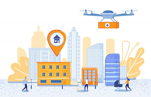 Poster targeted delivery using drones cartoon Vettore Premium