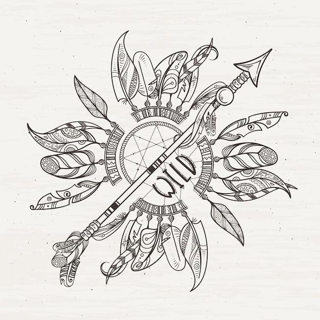 Poster tribale con frecce dreamcatchers e piume indiane Vettore Premium