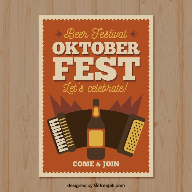 Poster vintage oktobefest con birra e fisarmonica Vettore gratuito