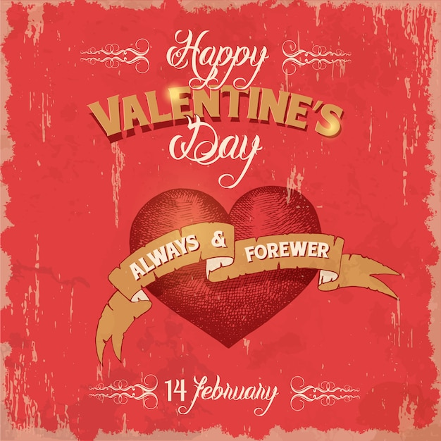 Poster vintage san valentino con cuori e nastri Vettore Premium