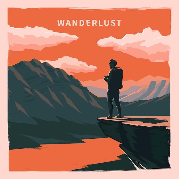 Poster vintage. wanderlust. Vettore Premium