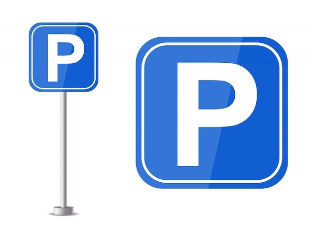 Posto auto per auto. segnale stradale blu con l'illustrazione della lettera p. Vettore Premium