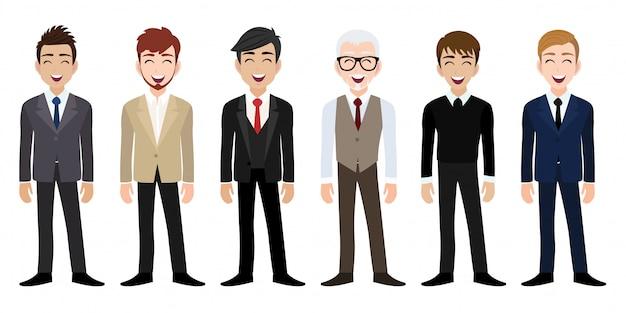 Posto di lavoro felice con il personaggio dei cartoni animati sorridente degli uomini in vestiti dell'ufficio Vettore Premium