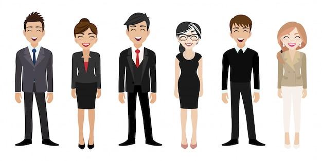 Posto di lavoro felice con il personaggio dei cartoni animati sorridente delle donne e degli uomini in vestiti dell'ufficio Vettore Premium