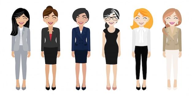 Posto di lavoro felice con il personaggio dei cartoni animati sorridente delle donne in vestiti dell'ufficio Vettore Premium